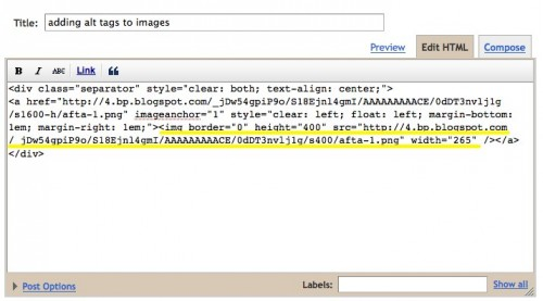 image  code in blogger