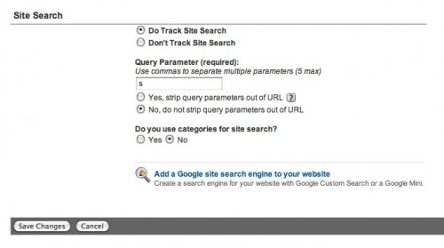 Google Analytics Site Search Screen