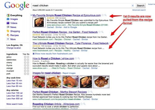 google recipe view - food bloggers
