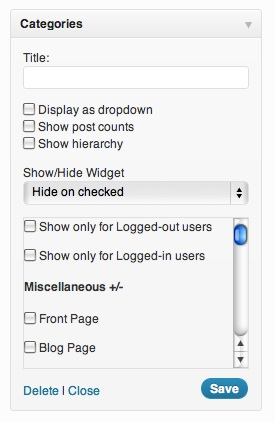 Using Display Widgets WordPress Plugin