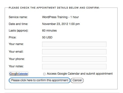 Appointments+ - Collecting Customer Info
