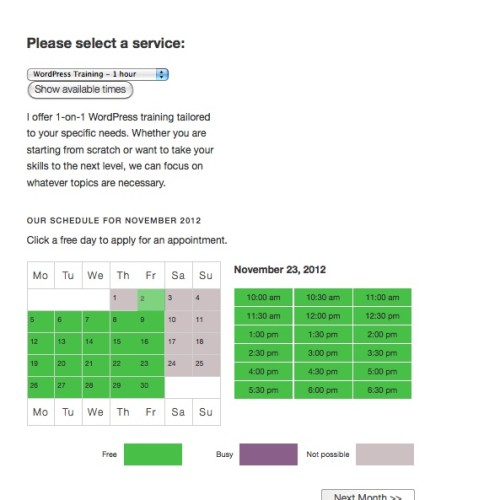 Appointments+ - Make An Appointment Page