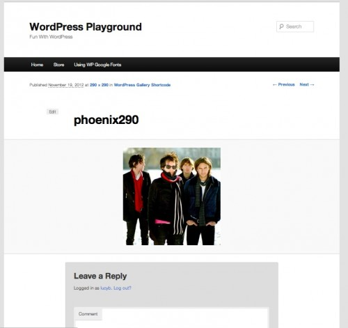 Image Attachment Page in Twenty Eleven WordPress Theme