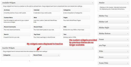 changing WordPress themes - inactive widgets