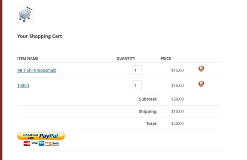Simple PayPal Shopping cart WordPress