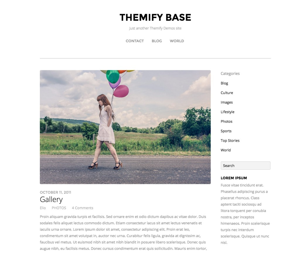 Themify Base - Customizable WordPress theme