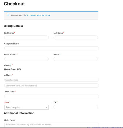 WooCommerce Unmodified Checkout Page