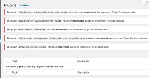 WordPress plugin errors after manual deactivation