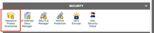 cPanel- password protect directories