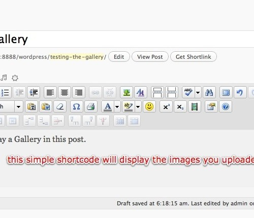 Using The WordPress Image Gallery Shortcode