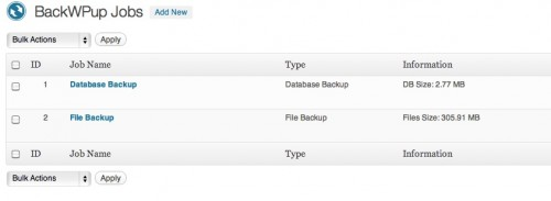 WordPress Plugin - Back WP Up - Job Names