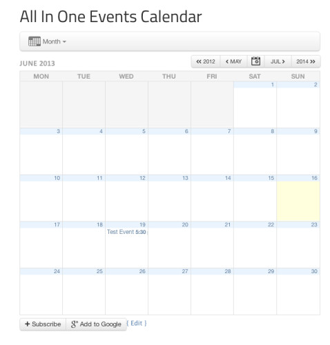 All In One Events Calendar shortcode output