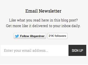 Email sign-up box on Brian Gardner's site