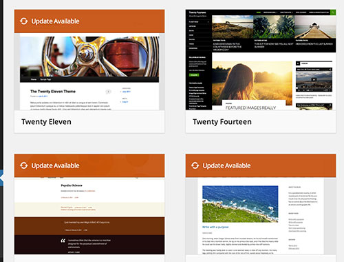 WordPress theme update available