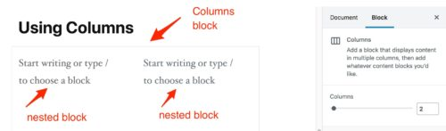 Gutenberg - Nested blocks in Columns