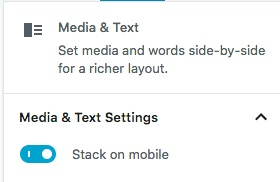 Gutenberg: media and text - stack on mobile