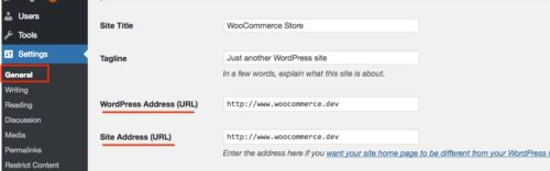 WordPress Address and Site Address