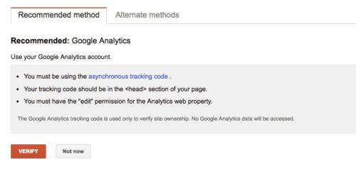 Search Console - Verify with Google Analytics