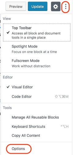 WordPress 5 - Screen Options